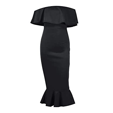 2dc02b3a2a17 Off-Shoulder Elegant Falbala Solid Party Slash Neck Ruffles Bodycon Dress  Robe Black White,