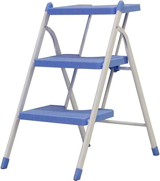 Taburete Plegable Silla Plegable Escalera De Madera Escaleras Ascendentes Escalera Portátil De Escalada Interior En Espiga De Engrosamiento Doméstico ZHANGQIANG (Color : Biue, Tamaño : Three Steps): Amazon.es: Hogar