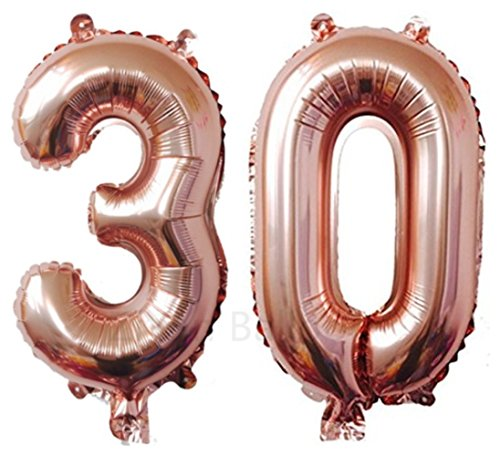ZiYan 40 Inch Giant 30th Rose Gold Number Balloons,Birthday/Party balloons by ZiYan