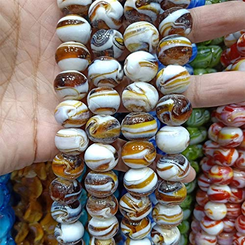 Calvas 15PCS/LOT 14mm Round Handmade Lampwork Beads Spin Flower Loose Lampwork Glaze Beads for Charm Jewelry Making DIY Accessories - (Color: 12)