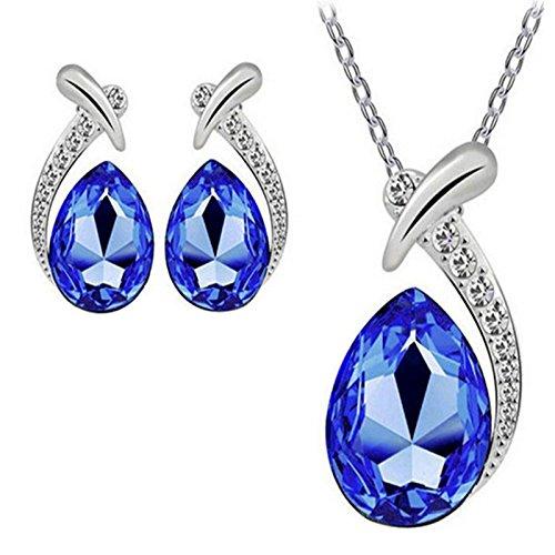 HOUSWEETY 1 Set Crystal Pendant Chain Double Heart /Teardrop/ Moon Necklace & Stud Earrings Dangle Earrings - Valentines Gift (Purple(Heart))