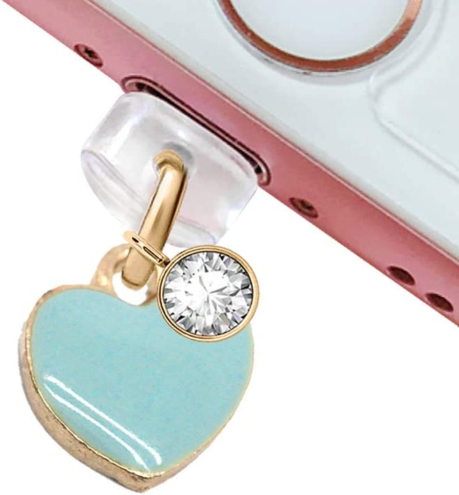 CP230 USB Charging Port Anti Dust Plug Cute Blue Tiny Heart Love Pendant Phone Charm for iPhone 11/ XS MAX/XR/X/8 Plus/7/6S/7/SE iPad iPod