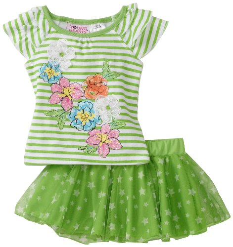 Young Hearts Baby Girls' 2 Piece Stripe Scooter Set, Lime Green, 18 Months