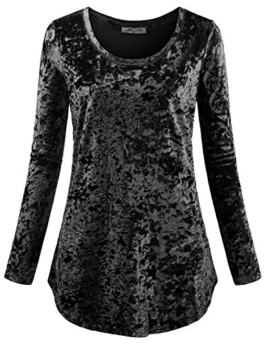 SeSe Code Round Neck Tops for Women Ladies Long Sleeve Tunic Fashion Work Fitted Solid Shirttail Hem Layer Popover Soft Surroundings Slim Fit Retro Modern Blouson Dressy Blouses Black L