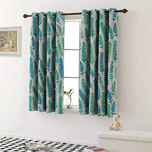 shenglv Teal Customized Curtains Leaf Pattern Branches Trees in Summer Forest Foliage Fabric Design Style Print Curtains for Kitchen Windows W63 x L45 Inch Green Teal Blue
