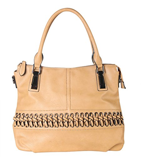 Front PU Accented Strap Removable Diophy Purse Laced 1600 Womens Tote CZ with Handbag Taupe Leather qtHfdwA