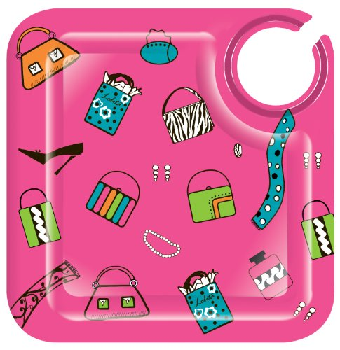 ove My Party Shopaholic Too 8-1/2-Inch Square Appetizer Plates, Set of 4 ()