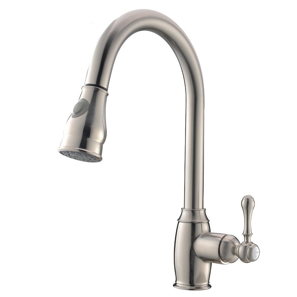 VCCUCINE Modern Solid Brass Pull Out Single Handle Stainless Steel Pull Down Sprayer Kitchen Faucet, Brushed Nickel Kitchen Sink faucets