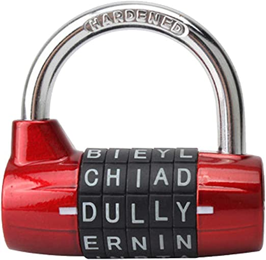 Gym Locker Lock Red 5 Letter Combination Lock Password Sturdy Security Padlock