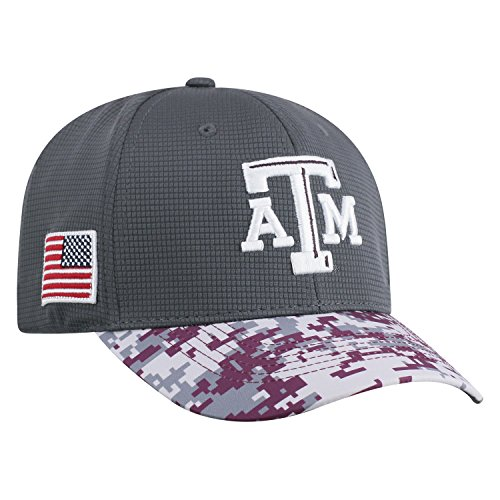 Texas A&m Aggies Sport Hat - Top of the World NCAA Salute to USA Military -One-Fit Camo Hat Cap-Texas A&M Aggies