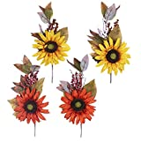 Valery Madelyn 4 Packs Floral Fall Picks with Sunflowers, Berries and Leaves for Thanksgiving Decor, Home Decor, Autumn Decorations