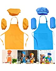 2 Sets Kids Aprons Chef Hats Sleeves, Kids Apron with Pocket Children Adjustable Chef Apron for Cooking Baking Painting(3-6 Years Old, Orange, Blue)