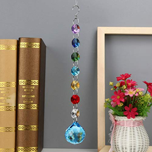 Hot Sale!DEESEE(TM)12Colors 1PC DIY Bohemian Clear Crystal Ball Prisms Pendant Hanging Wedding Decor Gift (G)