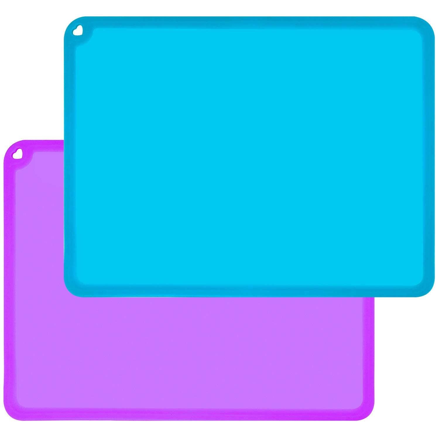 Kids Placemats, Silicone Baby Placemats for Kids Toddler Children Reusable Non-Slip Table Mats, Baby Food Mats for Restaurant, 2 Pack, Purple/Blue