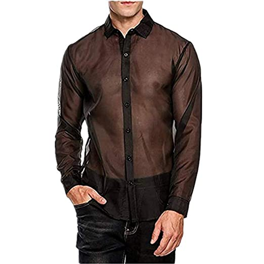 7fc61260db40 Freebily Men s Sexy See Through Mesh Muscle Clubwear Long Sleeve Shirt Black  Medium