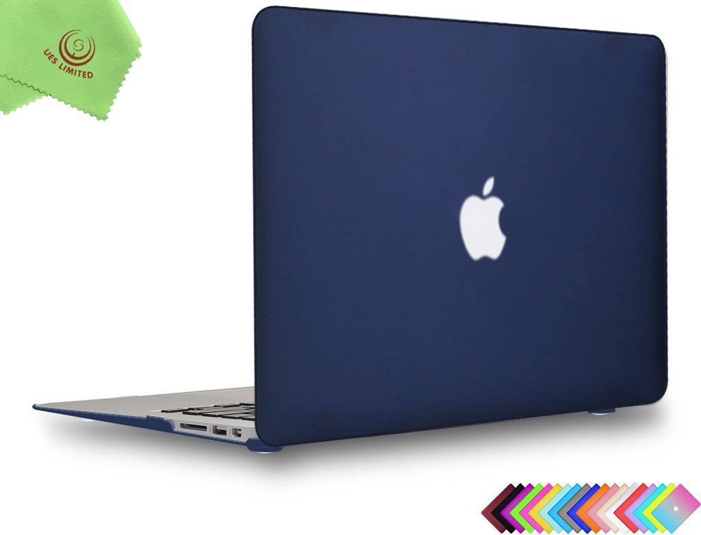 MacBook Air 13 inch Case, UESWILL Smooth Soft-Touch Matte Hard Shell Case Cover for MacBook Air 13'' (Model: A1466/A1369) + Microfibre Cleaning Cloth, Navy Blue
