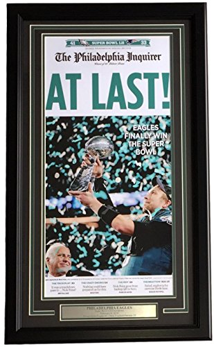 Philadelphia Eagles Framed 11x22 Feb 5 2018 Super Bowl 52 LII Champions Inquirer Photo