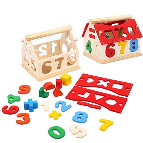 Rampmu Kids Wooden Building Block Toy, Multicolor Numbers House Blocks Set Educational Learning Toys