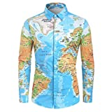 Mens Summer t Shirts Short Sleeve Tronet Fashion Men's Casual World Map 3D Print Long Sleeve Turn-Down Collar T-Shirt Top