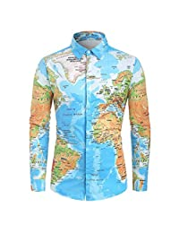 Mens Casual World Map Print with Button Shirt Top Blouse