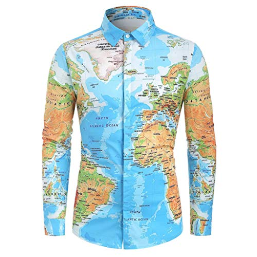 NIKAIRALEY T-Shirt Unisex Long Sleeve 3D Digital Printed Personalized T Shirts Tees Men's Button World Map Print Top Blouse Blue