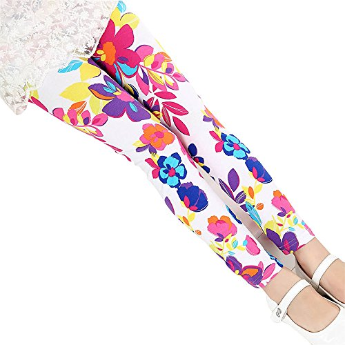Baby Kids Childrens Printing Flower Toddler Classic Leggings Girls Pants (7, A) (Leggings Kids)