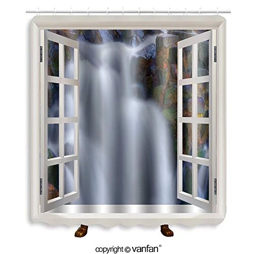 Vanfan designed Windows Beautiful picturesque waterfall in high dynamic range Shower Curtains,Waterproof Mildew-Resistant Fabric Shower Curtain For Bathroom Decoration Decor With Shower - Range Versace Price