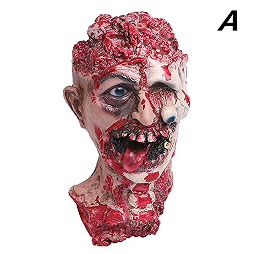 Latex Bloody Zombie Mask Adult Costume Walking Dead Halloween 2017 (Full Head & Neck)