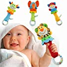 Herefind Soft Plush Animal Baby Rattle Toy Take Along with Safety 4 Style (Elephant)