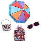 Eric&nicole Backpack Bag Handbag Sunglasses Umbrella Sets Accessories for 16 18 Inch American Girl Doll