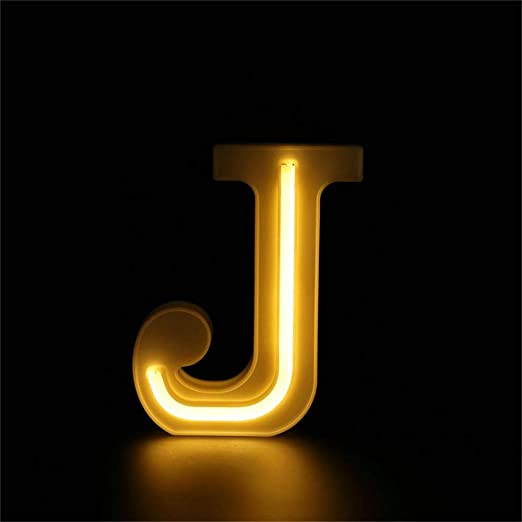 Warm White LED Letters Neon Light Sign, Light Up Marquee Letters Lights Battery Powered (J)