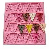 "Vivin Bunting Alphabet Letter Flag Silicone Decorating Chocolate Cake Mould Fondant Baking - Pink 4"" x 4"""