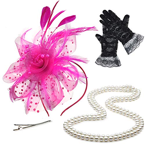 (ZeroShop Fascinators Hats for Womens,Cocktail Party Hat,Tea Party Dress Headband,w/Pearl Necklace & Lace Gloves,HotPink)