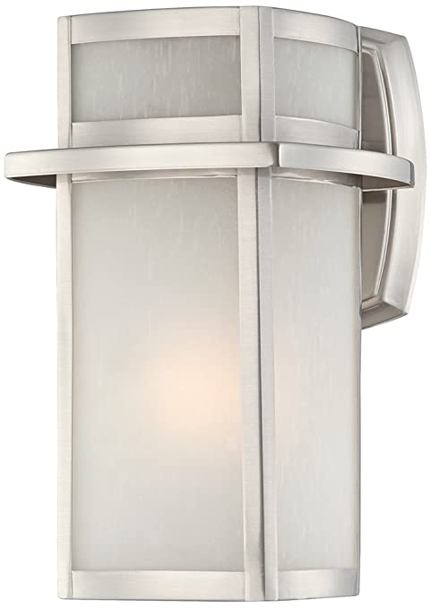 Brushed nickel frosted glass 11 14 high outdoor wall light wall brushed nickel frosted glass 11 14 high outdoor wall light wall porch lights amazon aloadofball Images