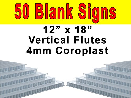 Vibe Ink Pack of 50 Sheets Corrugated Plastic 4MM White Blank Yard Signs 18 x 12 Short-Flute