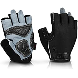 OZERO Weight Lifting Gloves Extra Grip Thick Leather Palm Non-slip Gel Pads, Half Finger Gym Glove Weightlifting/Workout/Road Bike/Motorcycle Riding - Fit Men Women Black Medium