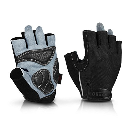 (OZERO Workout Gloves Extra Grip Thick Leather Palm and Non-Slip Gel Pads, Half Finger Gym Glove for Weight Lifting/Cycling/Road Bike/Motorcycle/Bicycle Riding - Fit for Men and Women Black Large)