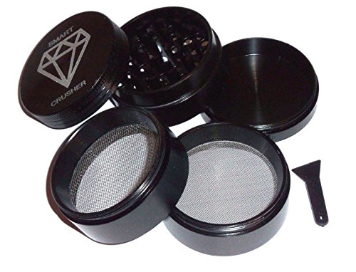 Price comparison product image Smart Crusher® Black 5 Piece Space Metal Spice Tobacco Herb Kitchen Grinder w/ Pollen Scraper