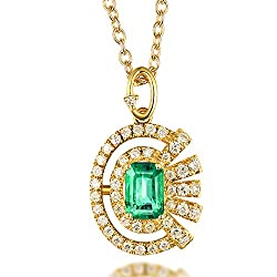 Yellow Gold Colombia Emerald Diamond Pendant Necklace