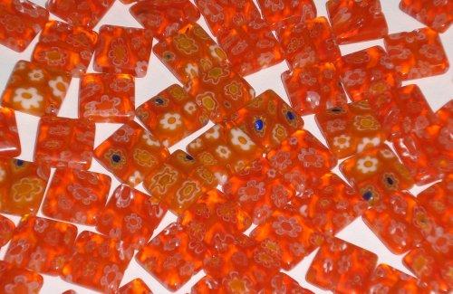 Orange Millefiori Glass 10x10mm Flat Square Beads - Set of 20