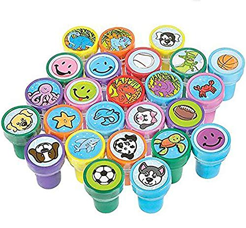 Kicko Stamps Assortment for Kids - 50 Plastic Self-Ink Stampers - to Motivate and Bribe Kids - Kids Arts