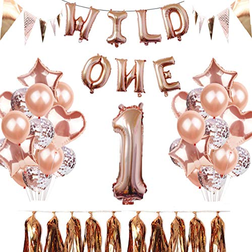 Wild One Birthday Decorations First Birthday Party Decor With Wild One Foil Balloons&Sequin Latex Balloons&Paper Tassel&Triangle String Flag&Number 1 Balloon&Rose Gold Foil -