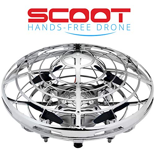 "Drones for Kids Mini Quadcopter Drone – ""Force1 Scoot"" Hands Free Hover Drone w/ 3 Micro Drone Sensors for Autopilot for Beginner Drones Flying Toys (Silver)"