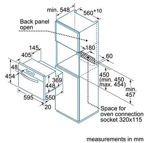 Balay 3HB451XM - Horno (Medio, Horno eléctrico, 50 L, 50 L, 1 estanterías, Acero inoxidable): Amazon.es: Hogar