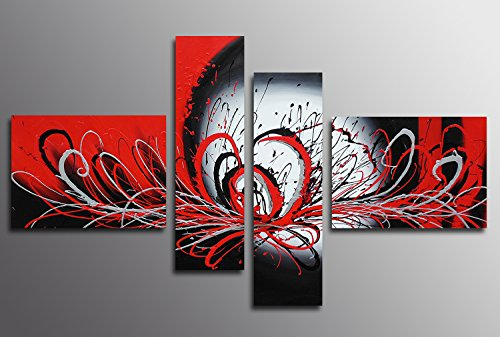 Muzagroo Art Oil Painting Hand Painted on Canvas Black and Red Abstract Paintings Room Decor for Living Room Stretched L by Muzagroo Art
