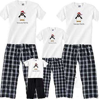 South Pole Penguin White Pajama Set - Adult Large, S/S, CBW Plaid Pants