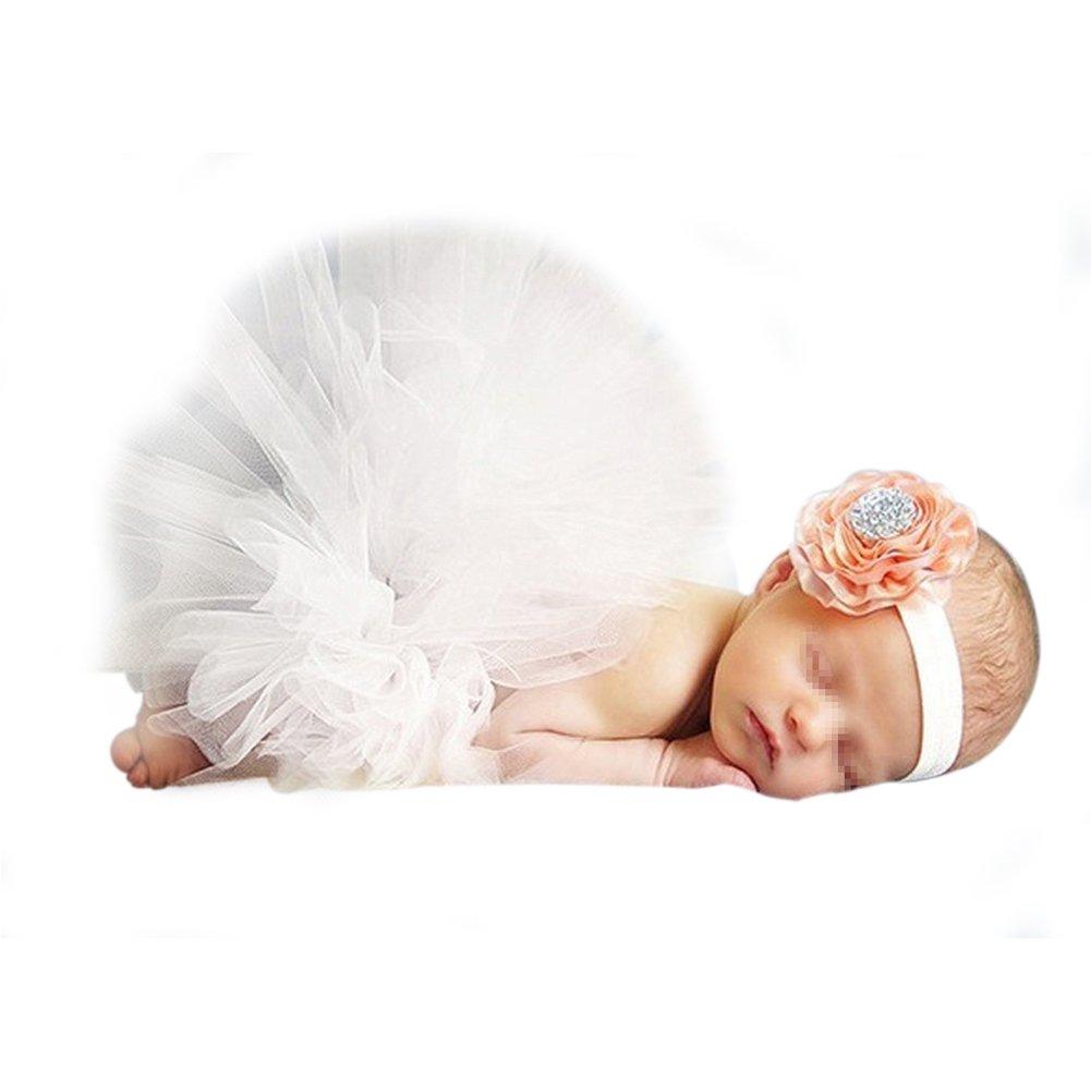 iKulilky B/éb/é Fille Tutu Robe jupe Pettiskirt Costume Photographie Prop Outfits Bandeau Cheveux Dentelle Fleur Accessoire Photo D/éguisement pour Enfant 0-3mois Vert Clair