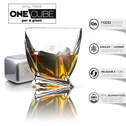 King-Sized Stainless Steel Ice Cubes Whiskey Stones Gift Set of 2, Reusable Metal Ice Cubes for Whiskey, Bourbon,Scotch, Whiskey Rocks Chilling Stones 1.5''+ Cork Coasters absorbent by Spirit Lux by Spirit Lux (Image #6)