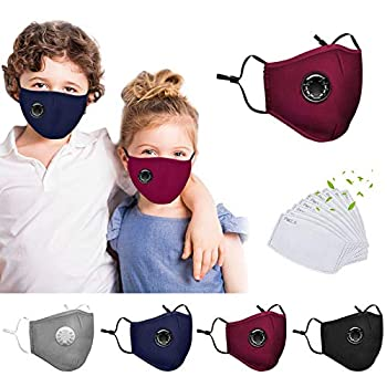 4 Pack Reusable Face_Mask with Respiratory Valve, Washable Facemask with 8PC Activated Carbon Filters,Cotton Face Filter with Adjustable Ear Loops, Breathable Facemask for Youngsters,Out of doors Indoor