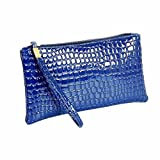 Women's Leather Wallet Clearance Sale Purse Wallet Crocodile Cell Phone Clutch Handbag with Strap (Blue)